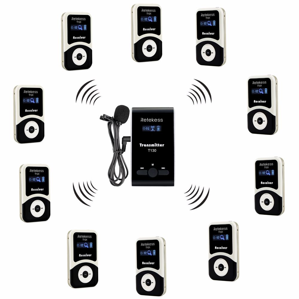 Retekess Wireless Tour Guide System 1 Transmitter+10 Receiver T131+Mic for Tour Guiding Simultaneous Translation Interpretation