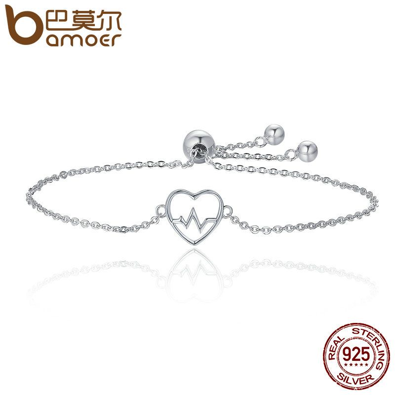 BAMOER Hot Sale 100% 925 Sterling Silver ECG Of Love & Sweetheart Heart Bracelet Women Luxury Authentic Silver Jewelry SCB019