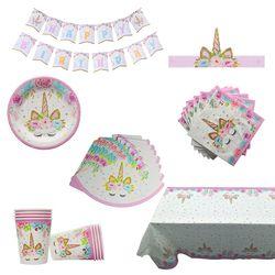 Unicornio partido Kits manteles evento y fiesta Tablecover cumpleaños fiesta decoración niños vajilla fuentes del Partido de Ducha