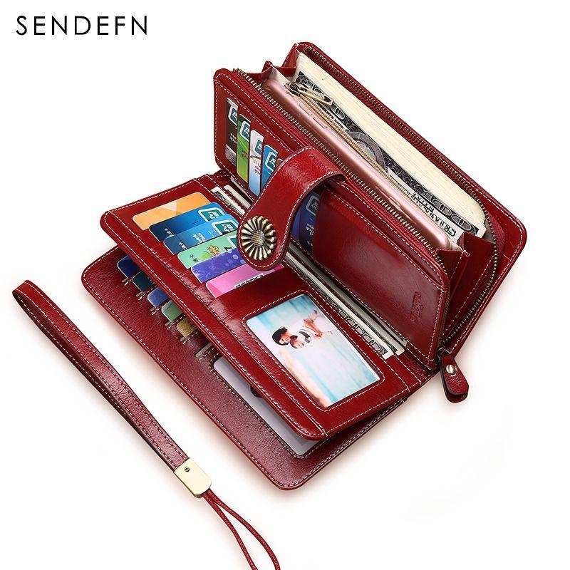Hot Sale Women Clutch 2018 New Wallet Split Leather Wallet Female Long Wallet Women Zipper Purse Strap Coin Purse For iPhone 7