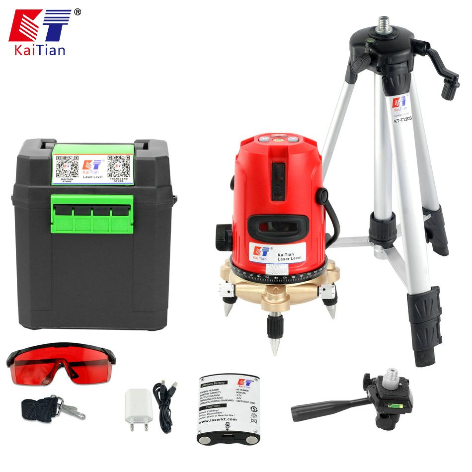 Kaitian Laser Level 5 Lines Nivel Laser Tripod for Level 360 Rotary Bracket Vertical Horizontal Lasers Lines Construction Tools
