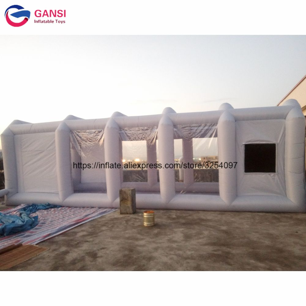 8m*4m*3m commercial inflatable paint spray booth , outdoor spray paint tent gray inflatable car tent with free blower