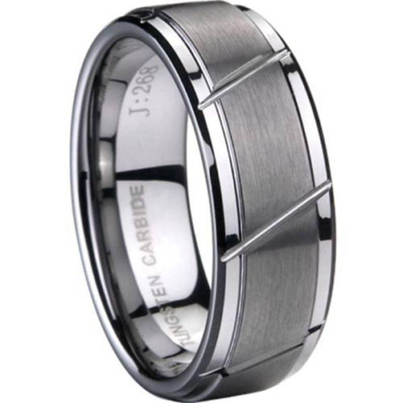 8 MM taille 7 à 15 anneau en carbure de tungstène brossé mat mariage fiançailles rainuré plaine Simple classique anniversaire Cocktail