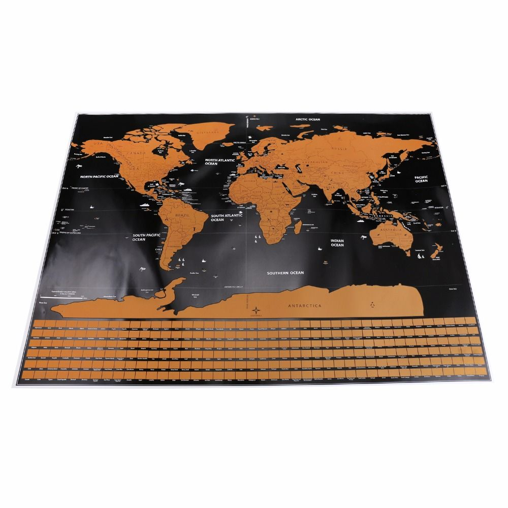 1 pc Scratch Map Personalized Flag World Scratch Map Mini Scratch Off Foil Layer Coating Poster Wall Stickers 82.5 x 59.5 cm
