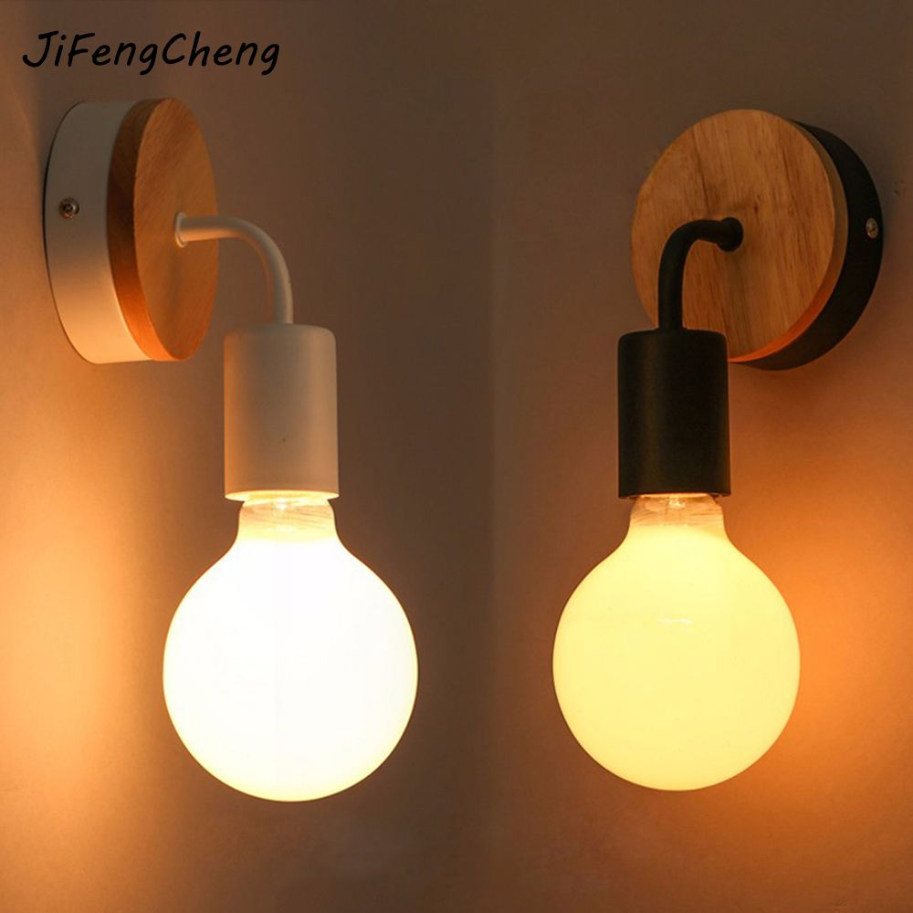 JIFENGCHENG Modern LED Wood Wall Lamp Iron Metal Wall Lamp Home Bedroom Home Lighting Wall Lamp Lamparas
