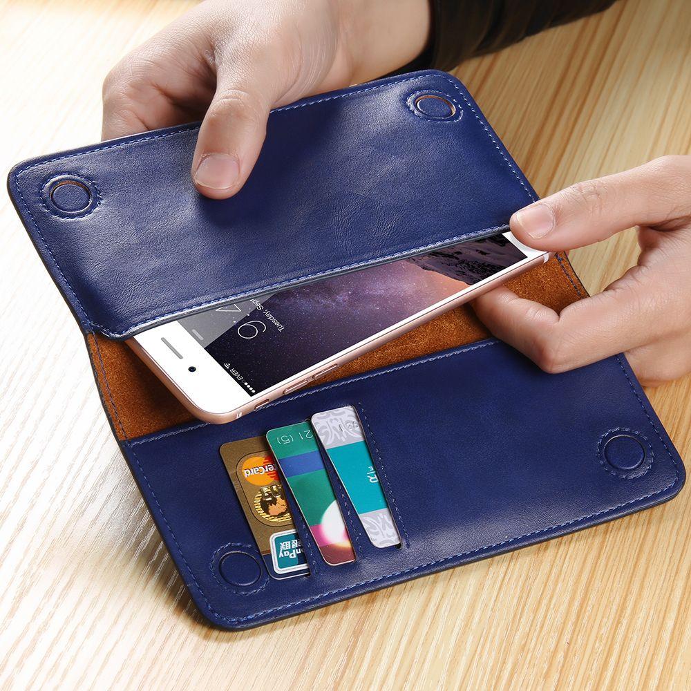 FLOVEME 5.5 Pouce Universel Portefeuille Housse Pour iPhone 6 6 s Plus véritable En Cuir Pour iPhone 7 7 Plus 8 8 Plus Réel En Cuir cas