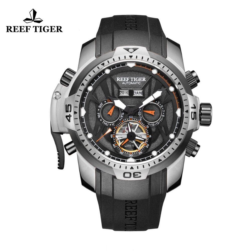 Riff Tiger/RT Sport Uhr Kompliziert Zifferblatt mit Jahr Monat Perpetual Kalender Großen Stahl Fall Uhren RGA3532