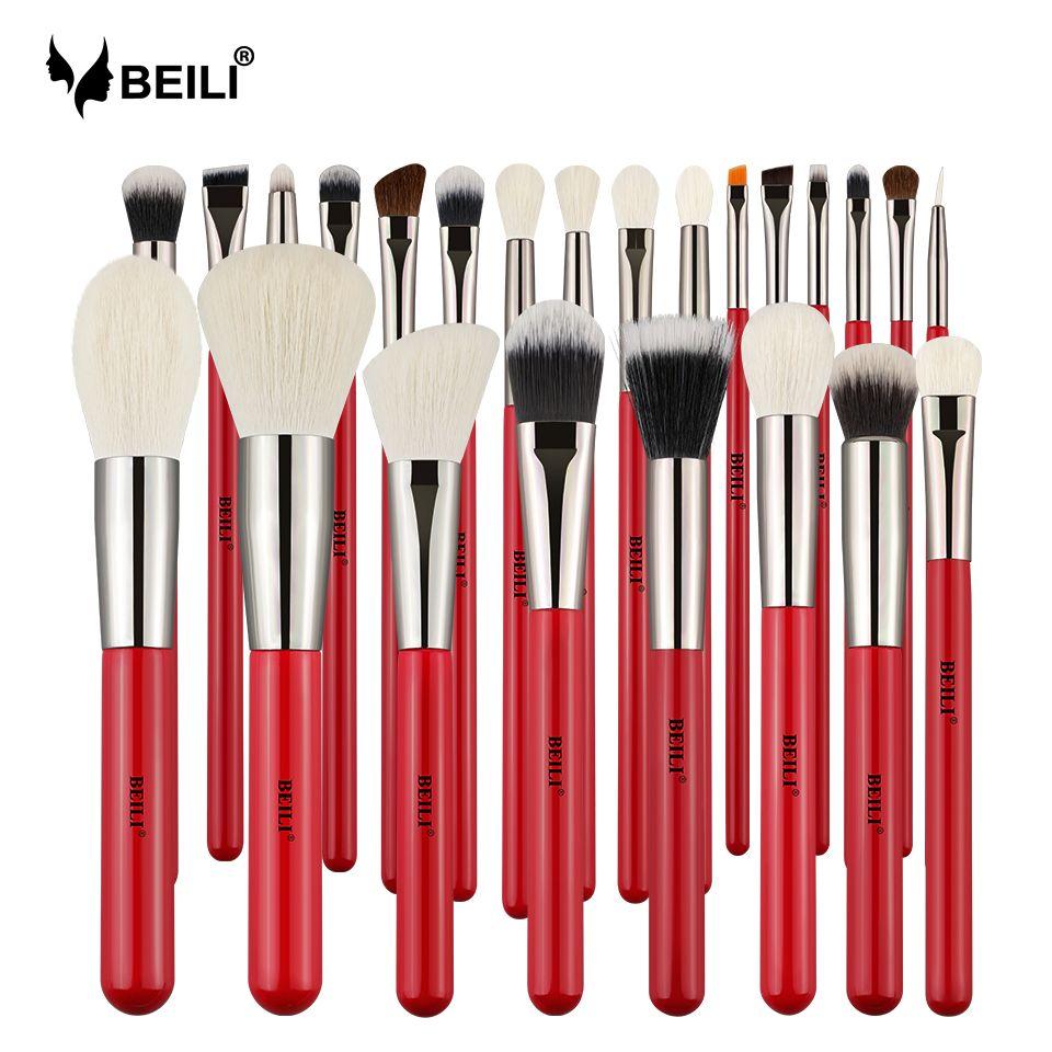 BEILI Rot 24 stücke Professionelle Make-Up Pinsel Set Natürliche Haar Pulver Creme Stiftung Rouge Eye blending brow Lip Eyeliner
