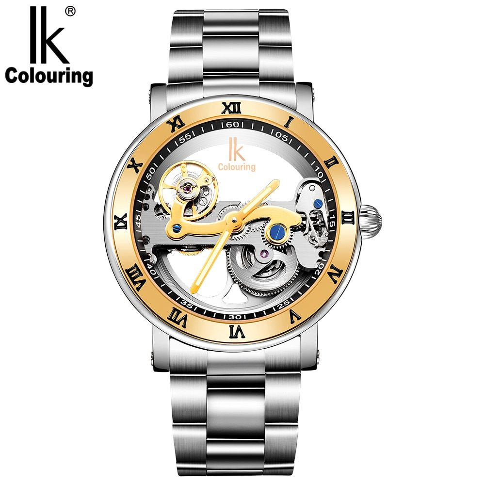 IK Coloring Original Men's Mechanical Bridge Skeleton Watch Stainless Steel Male Clock Automatic Relogio Masculino
