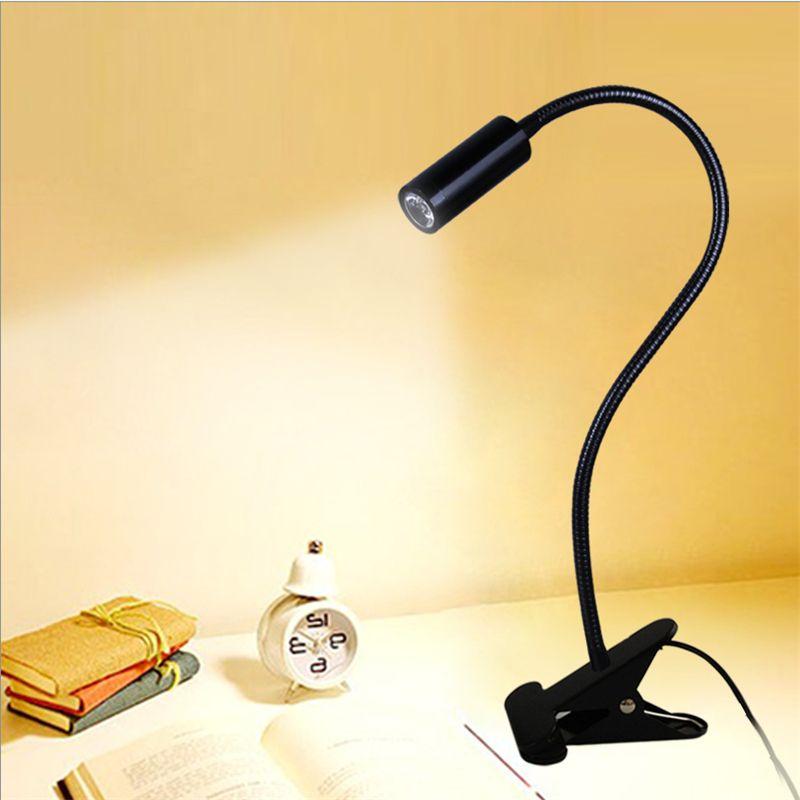 Envío gratis LED lámpara de escritorio, lámpara abrazadera lámpara de lectura, 30/40/50 cm 3 W Flexibles luz llevada de la tabla, alto brillo clip de la lámpara del punto TD-005