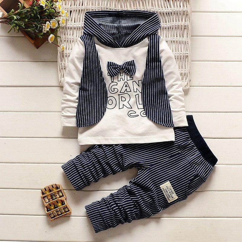 Printemps automne bébé garçons noeud papillon pull à capuche hauts + décontracté rayé pantalon deux pièces costumes enfants vêtements ensembles roupas de bebe