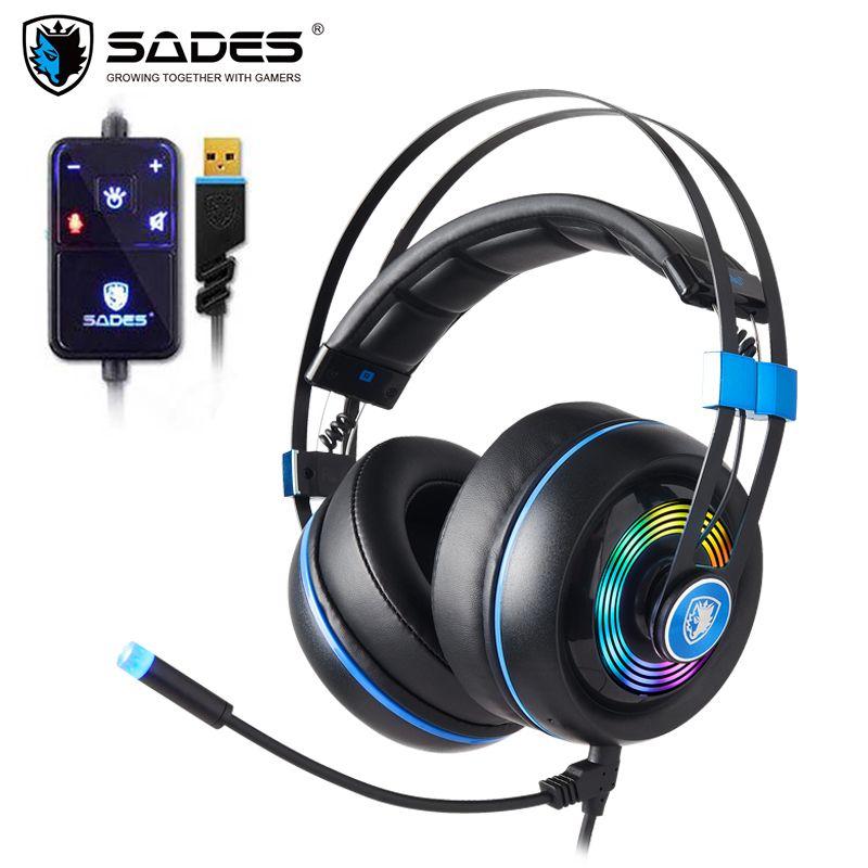 SADES Rüstung USB Gaming Headset Realtek Gaming Audio Leichte RGB Beleuchtung geräuschunterdrückung Für PC