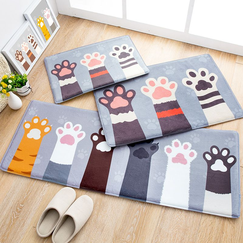 MDCT Cute Cat Paw Printed Area Rugs Carpet Soft Fleece Fabric Kids Climbing Play Mats Carpets For Living Room Kitchen Bathroom