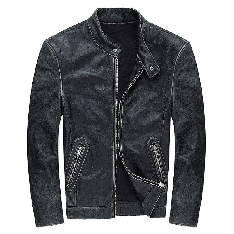 2018 Vintage Black Genuine Leather Mens Jacket Plus Size 4XL Real Thick Cowhide Winter Russian Casual Leather Coat FREE SHIPPING