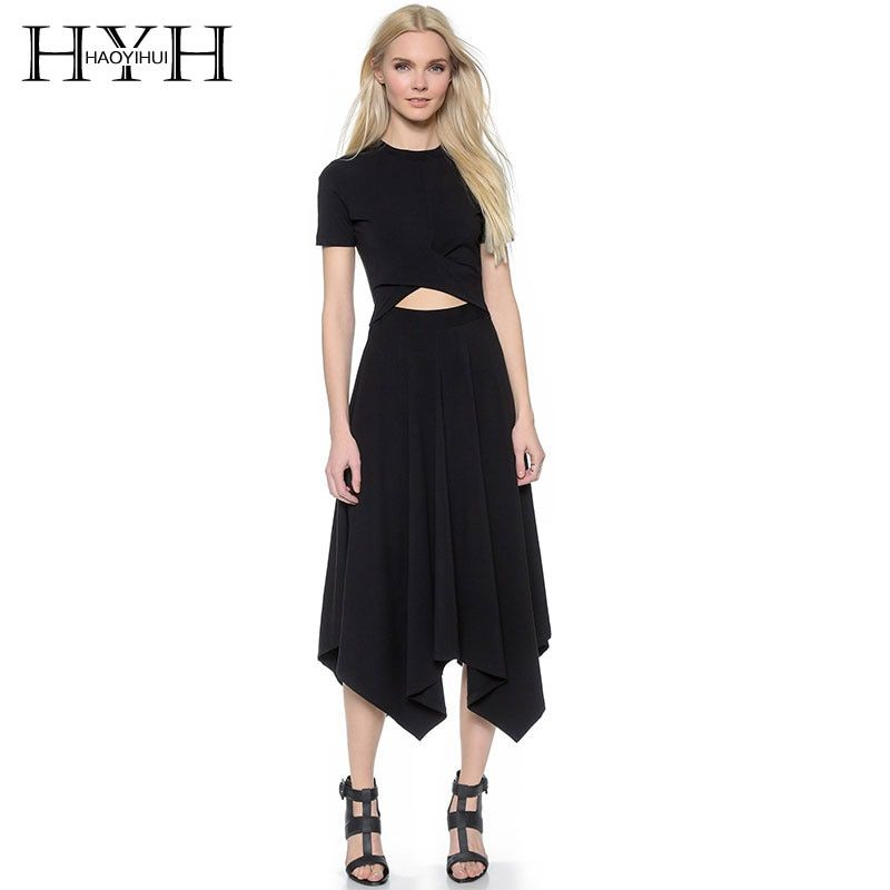 HYH HAOYIHUI Summer O-Neck Short Sleeve Hollow Out Irregular Dress Sexy Party Solid High Waist Thin Dresses for wholesale