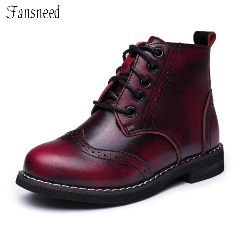 Children's shoes girls Martin boots autumn and winter single boy boots genuine leather children mid-top zipper boots
