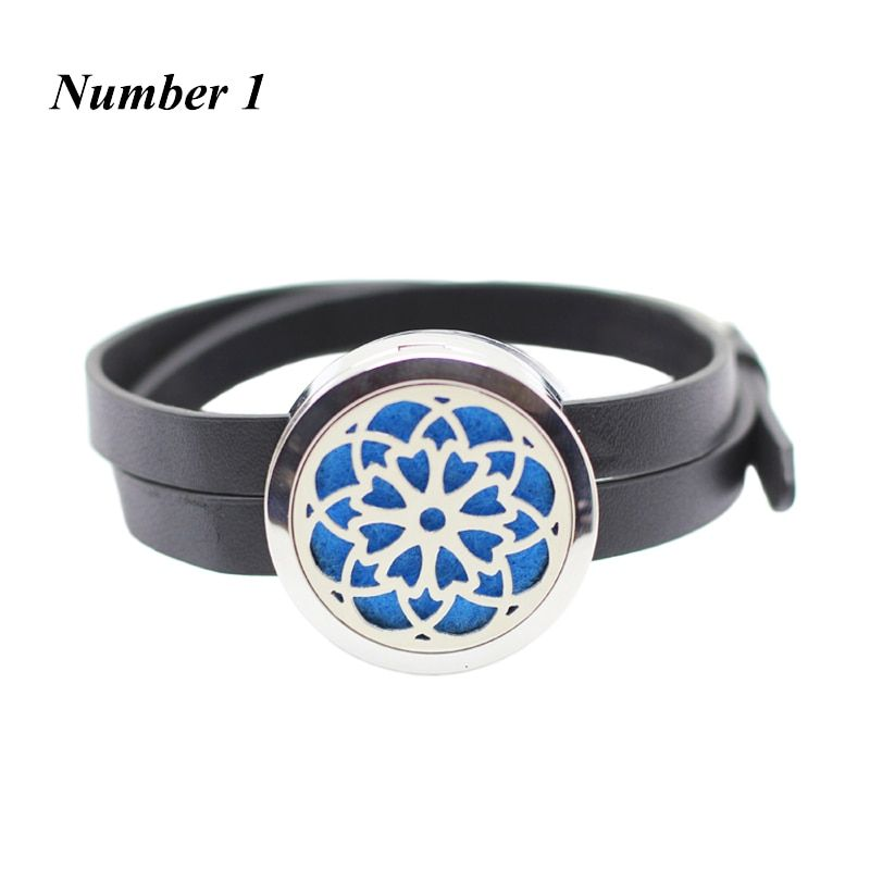 316l stainless steel aromatherapy Leather bracelet 30MM Silver Magnetic Essential oil Diffuser Bracelet for Women(with 5pads)