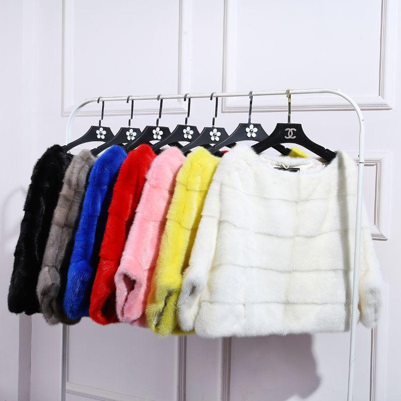 BFFUR Free Shipping Genuine Mink Fur Coat women full pelt Mink fur winter natural fur jacket plus size any color BF-P0008