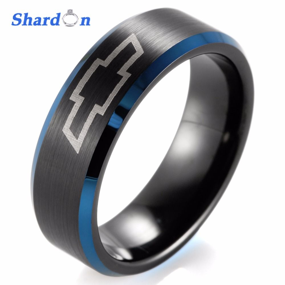 SHARDON 8mm Black Beveled blue Two-Toned Tungsten Carbide ring laser Chevrolet Chevy Corvette design engagement Ring for Men