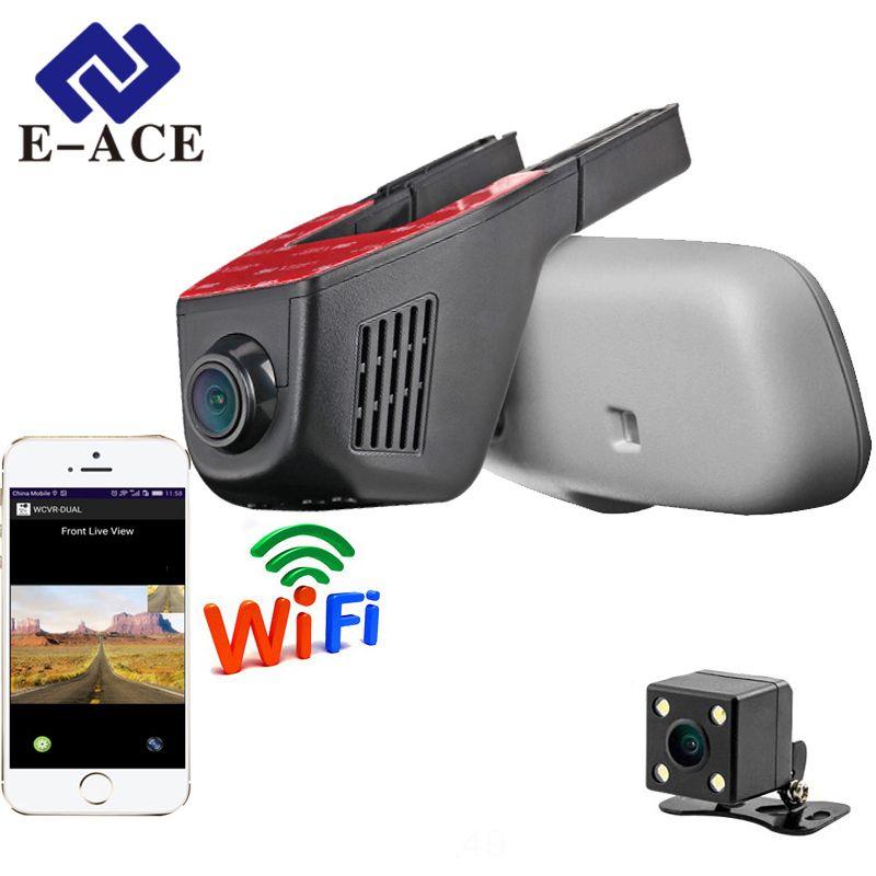 E-ACE Автомобильный видеорегистратор WI-FI DVRs двойной Объектив для камеры регистратор dashcam цифрового видео Регистраторы видеокамера Full HD 1080 P ...