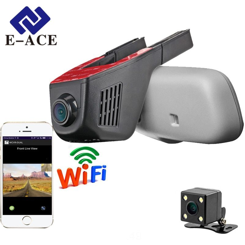 E-ACE Car Dvr WIFI DVRs Dual Camera Lens Registrator Dashcam Digital Video Recorder Camcorder Full HD 1080P <font><b>30FPS</b></font> Night Version