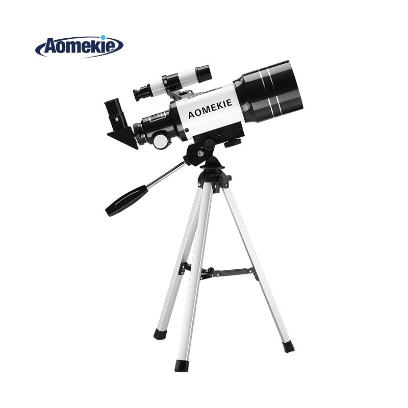 AOMEKIE F30070M Astronomical Telescope with Tripod Finderscope Terrestrial Space Moon Watching Monocular Telescope for Beginner