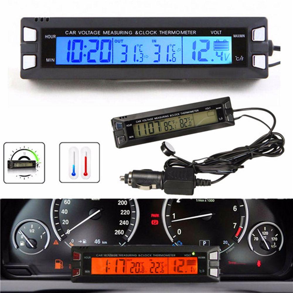 Universel 12 V/24 V rouge/Orange rétro-éclairage voiture numérique LCD affichage horloge, thermomètre intérieur/extérieur, moniteur de batterie de compteur de tension