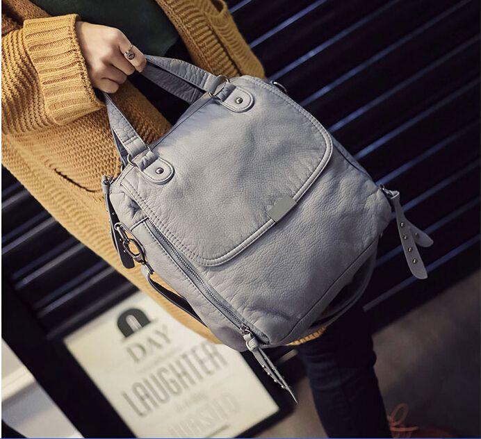 Cuero suave de mensajero ocasional hombro bolsa pequeña niña de la vendimia gris/Negro y-8965