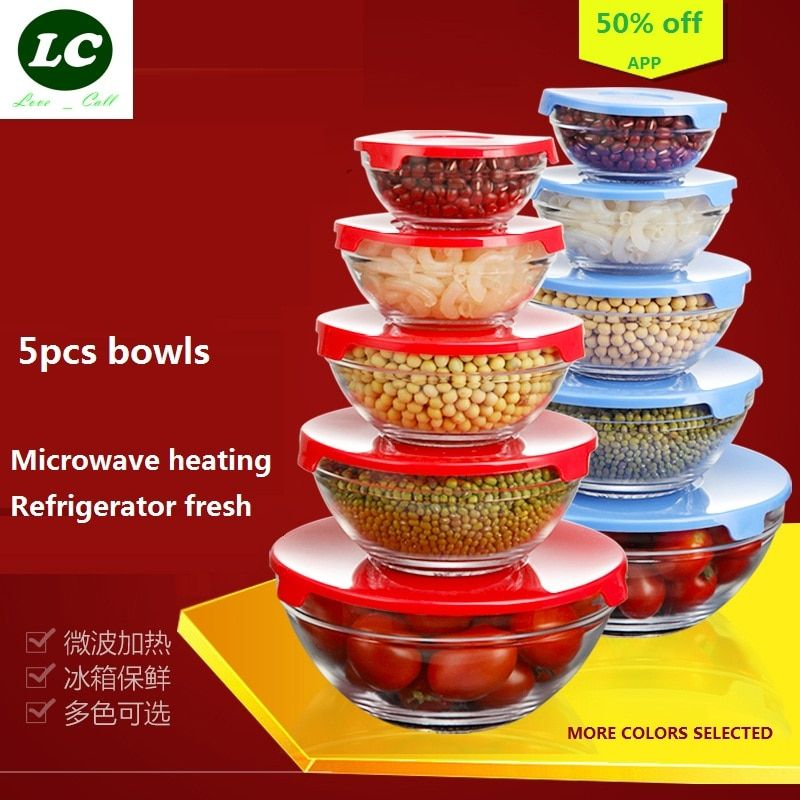 free shipping glass bowls 5pcs/set mixing bowl Heat-resistant glass fresh salad / bubble / bowl with PP cover lunch box