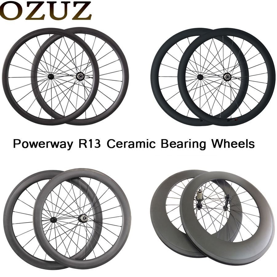 700C Carbon Powerway Ceramic Bearing Hub Wheels 24mm 38mm 50mm 60mm 88mm Clincher Tubular Carbon Road Bike Bicycle Wheels