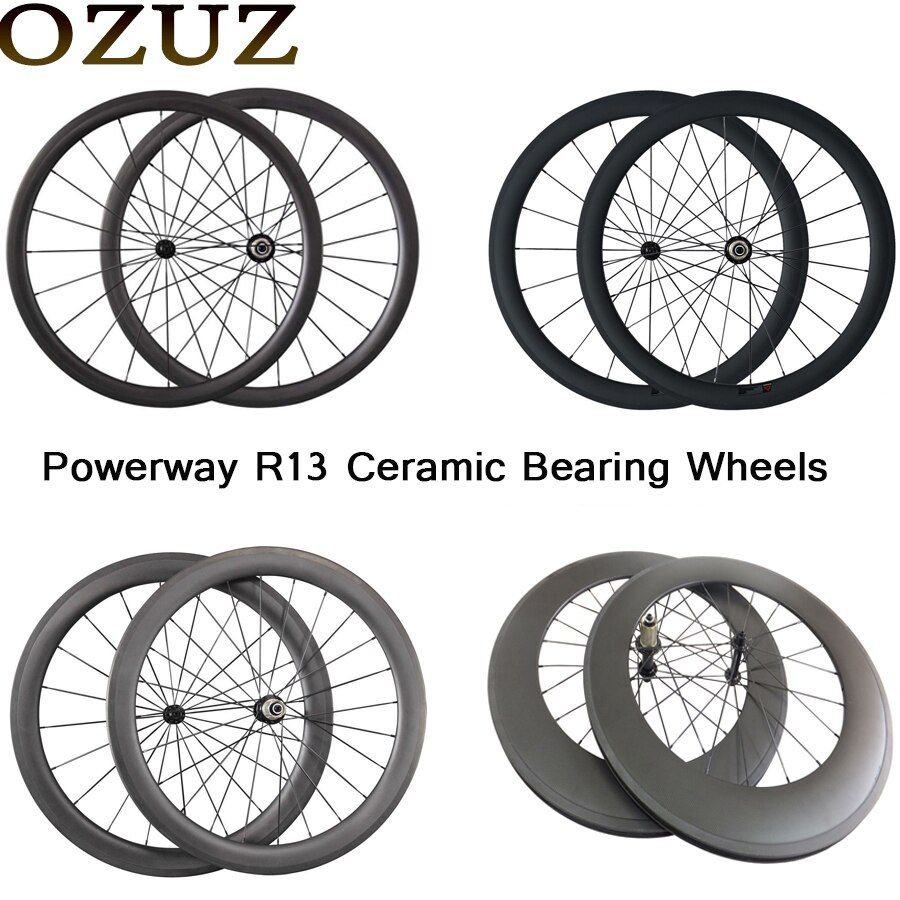 Free Custom 700C Wheelset Powerway Ceramic Bearing Hub 24mm 38mm 50mm 60mm 88mm Clincher Tubular Carbon Road Bike Bicycle Wheels