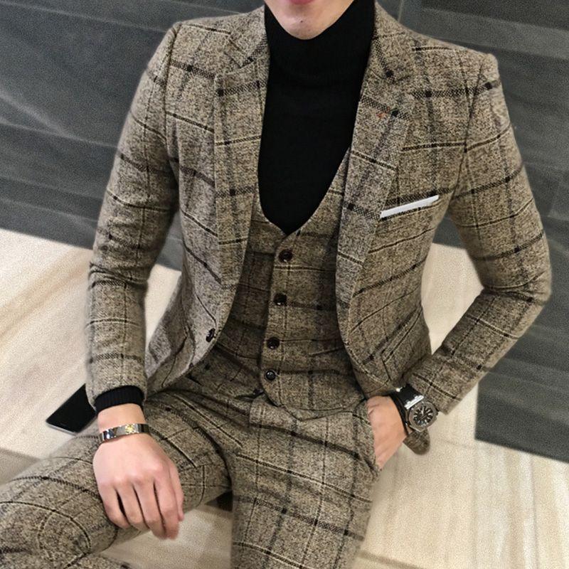 2 Piece Suits Men British Latest Coat Pant Designs Royal Blue Mens Suit Autumn Winter Thick Slim Fit Plaid Wedding Dress Tuxedos