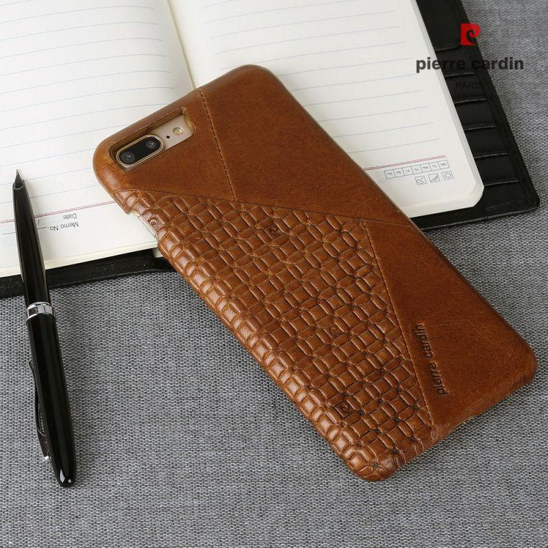 Luxury Brand Phone Case For Apple iPhone 7 8/7 8 Plus Original Pierre Cardin Vintage Splice Genuine Leather Slim Hard Back Cover