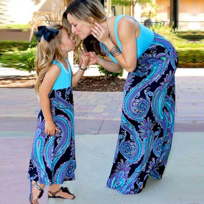 MVUPP mère fille robes famille correspondant vêtements patchwork bébé fille vêtements maman maman et moi soirée décontracté maxi robe