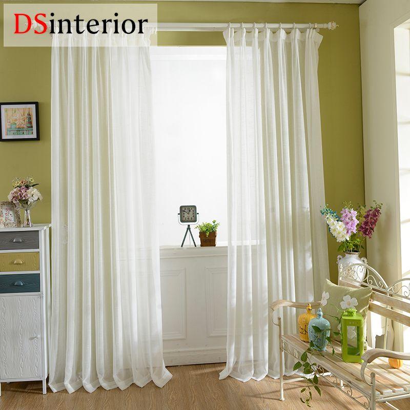 DSinterior massif Fini blanc pur voilage transparent pour fenêtre