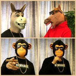 Hewan Kuda Kepala Topeng Headset Anjing Husky Topeng Gorila Bar Cos Lucu Keledai Head Live Kinerja Alat Peraga