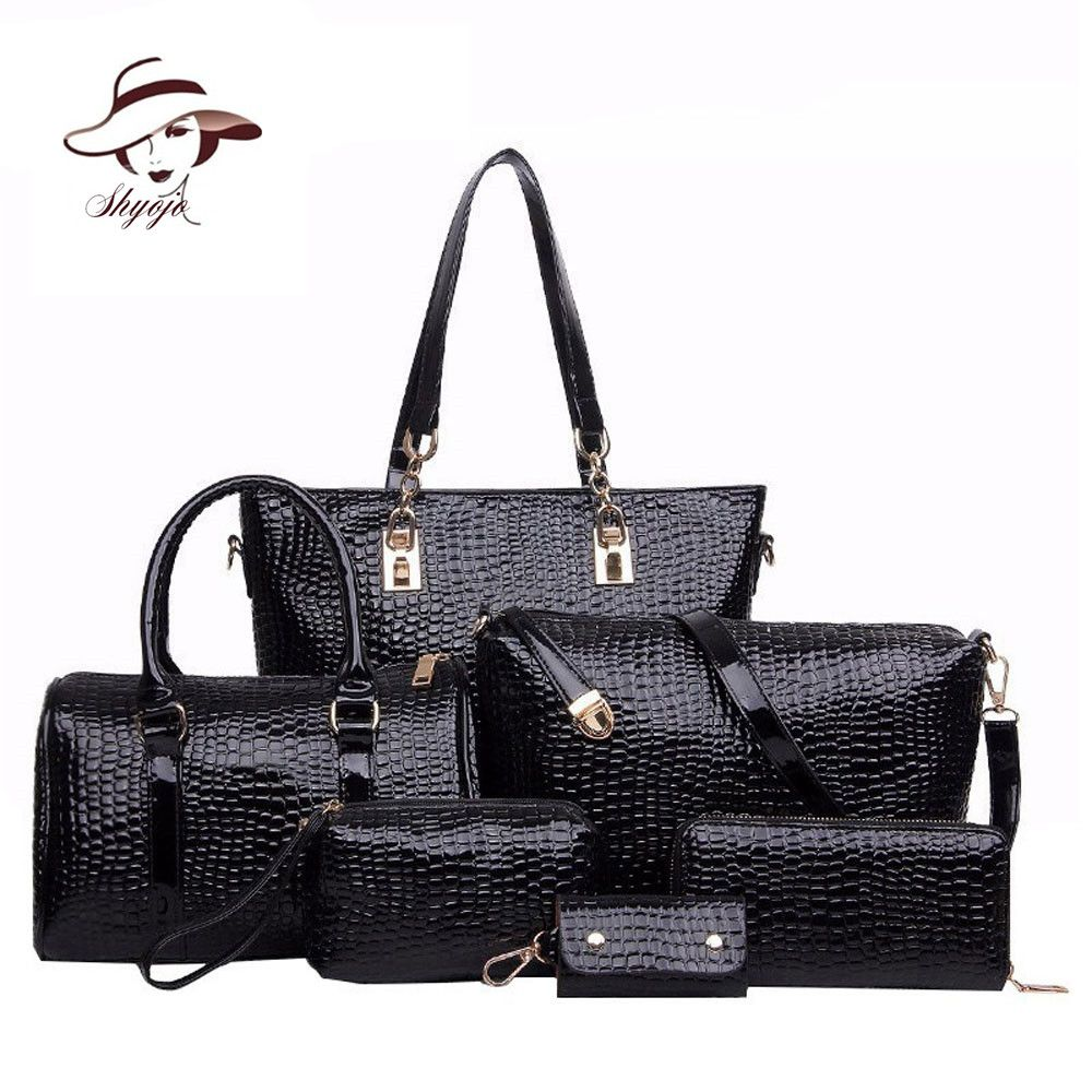 6 Set Luxury New Fashion Brand Designer Crocodile Patent Leather Composite Bag Handbag+Shoulder Messenger Bag+Clutche Purse Tote