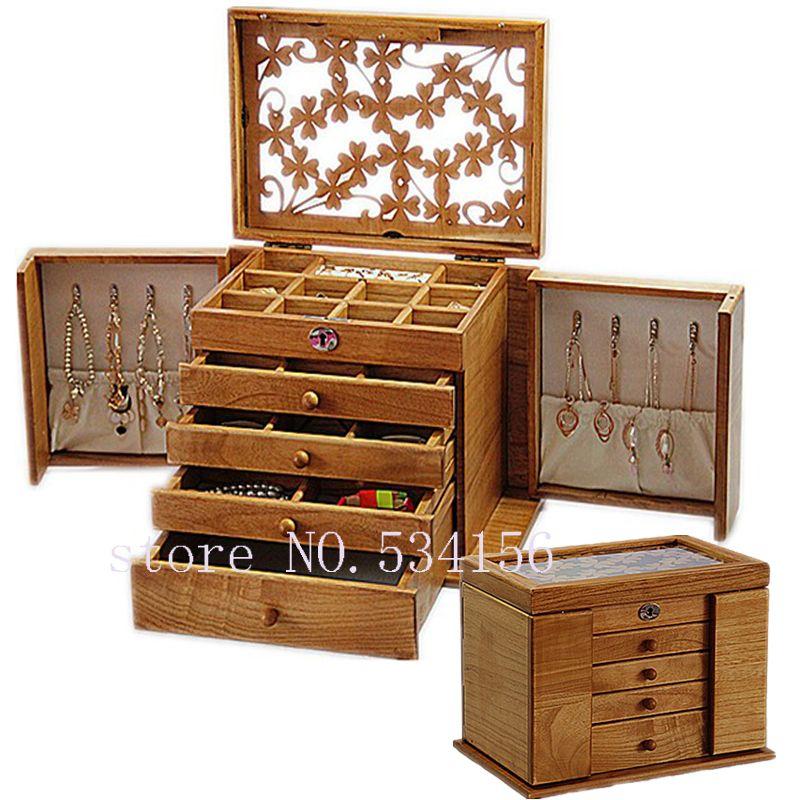 Luxus mode Holz prinzessin riesige super schmuck zubehör lagerung organizer box fall schatulle hochzeit Mutter geburtstag geschenk