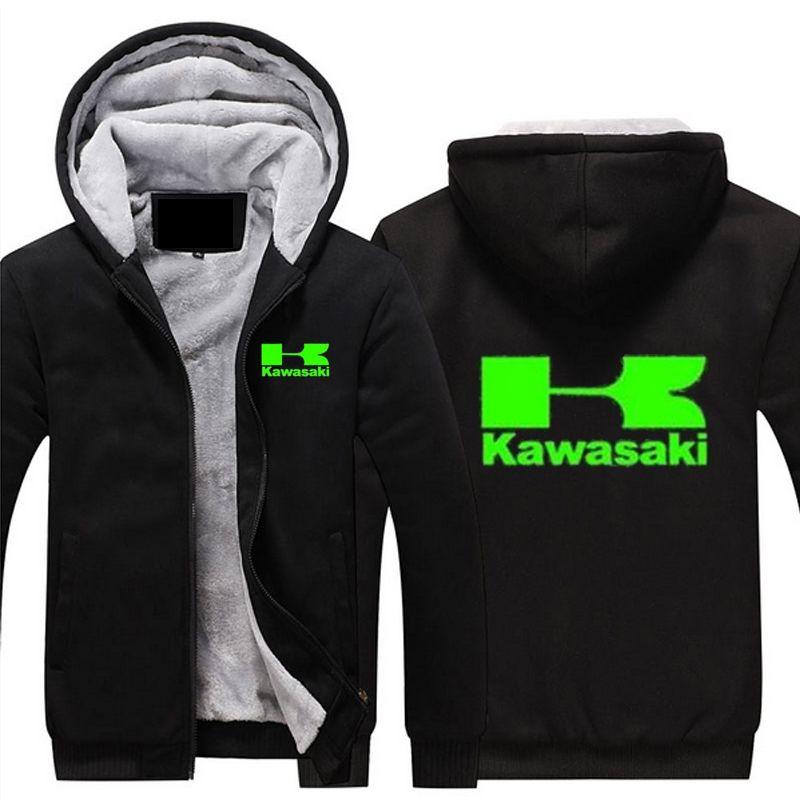 Winter Coat Men's Casual Thick Warm Hoodies Cotton Jacket Casual Green Print Kawasaki Moto Logo Motorcycle Racing Sweatshirts