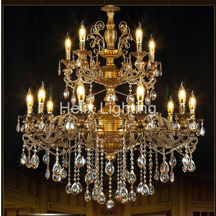 Free Shipping Antique Brass Color Chandelier Lights K9 Crystals Copper Alloy Lamp Copper Brass Chandelier Light Antique Lighting