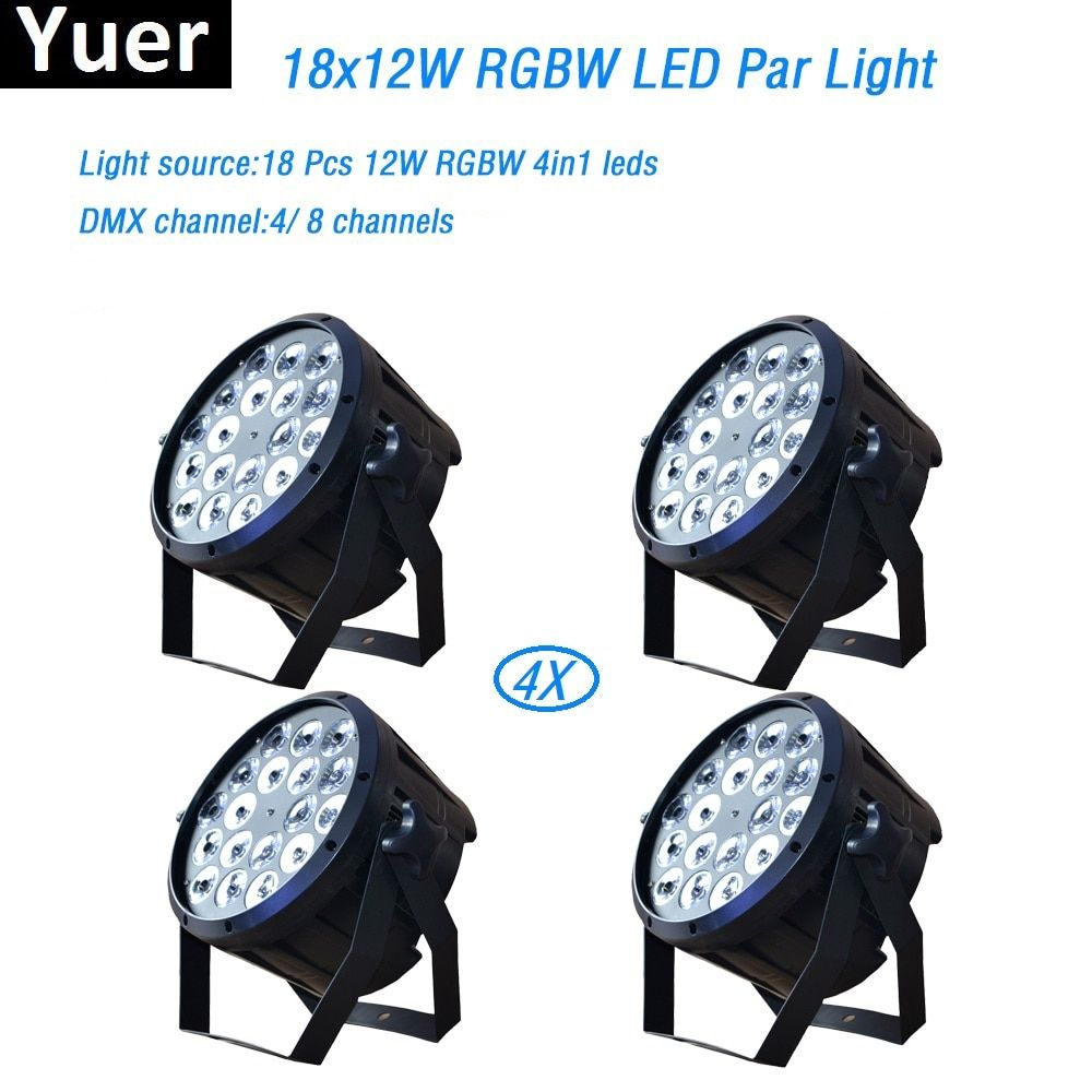 4Pcs/Lot 18x12W RGBW 4in1 led par light DMX Stage Lights Professional Flat Par Can for Party KTV Disco DJ professional lighting