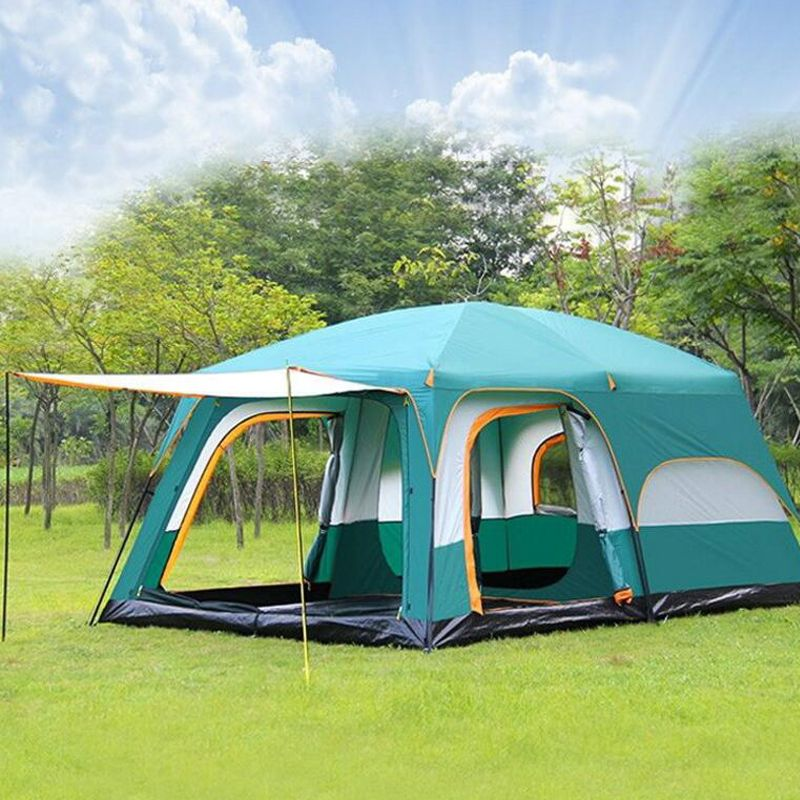 Large camping tent 10 12 person waterproof double layer 2 living rooms and 1 hall family tents outdoor camping big gazebo tent