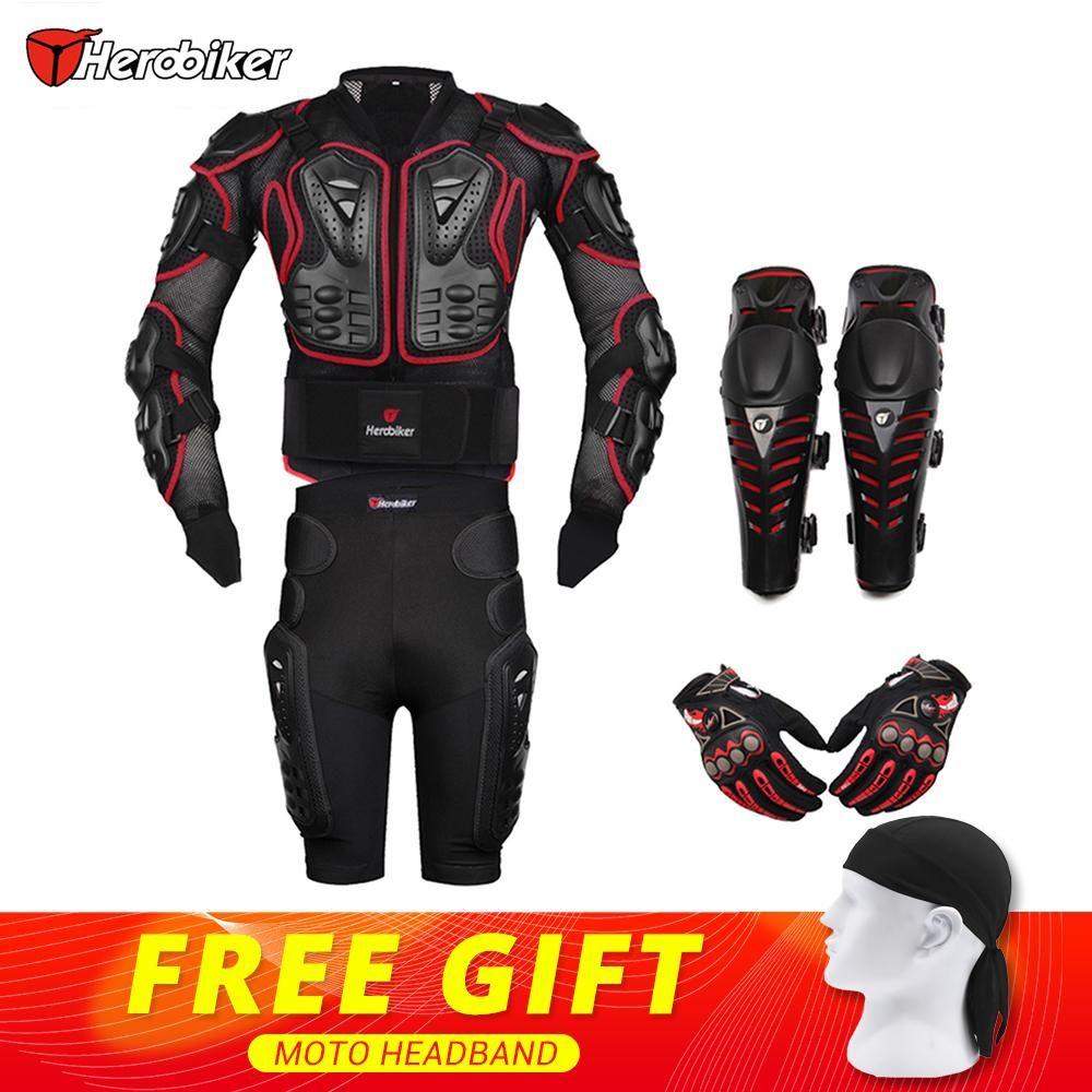 HEROBIKER Rouge Motocross Racing Moto Body Armor Protection Moto Veste + Shorts Pantalon + Équipement De Protection Genouillères + Gants