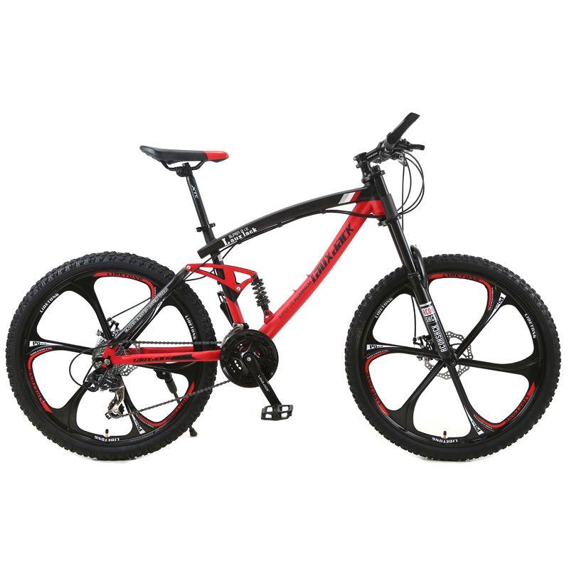 LAUXJACK Mountainbike Stahl Rahmen Full Suspension Rahmen Mechanische Scheiben Bremse 24 Geschwindigkeit Shimano 26