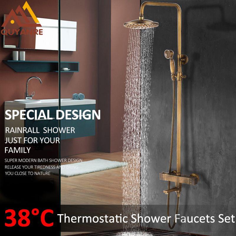 Quyanre Antique Brass Thermostatic Shower Faucets Set Brass Rainfall Shower Head Brass Mixer Tap Bathroom Shower Faucet Set