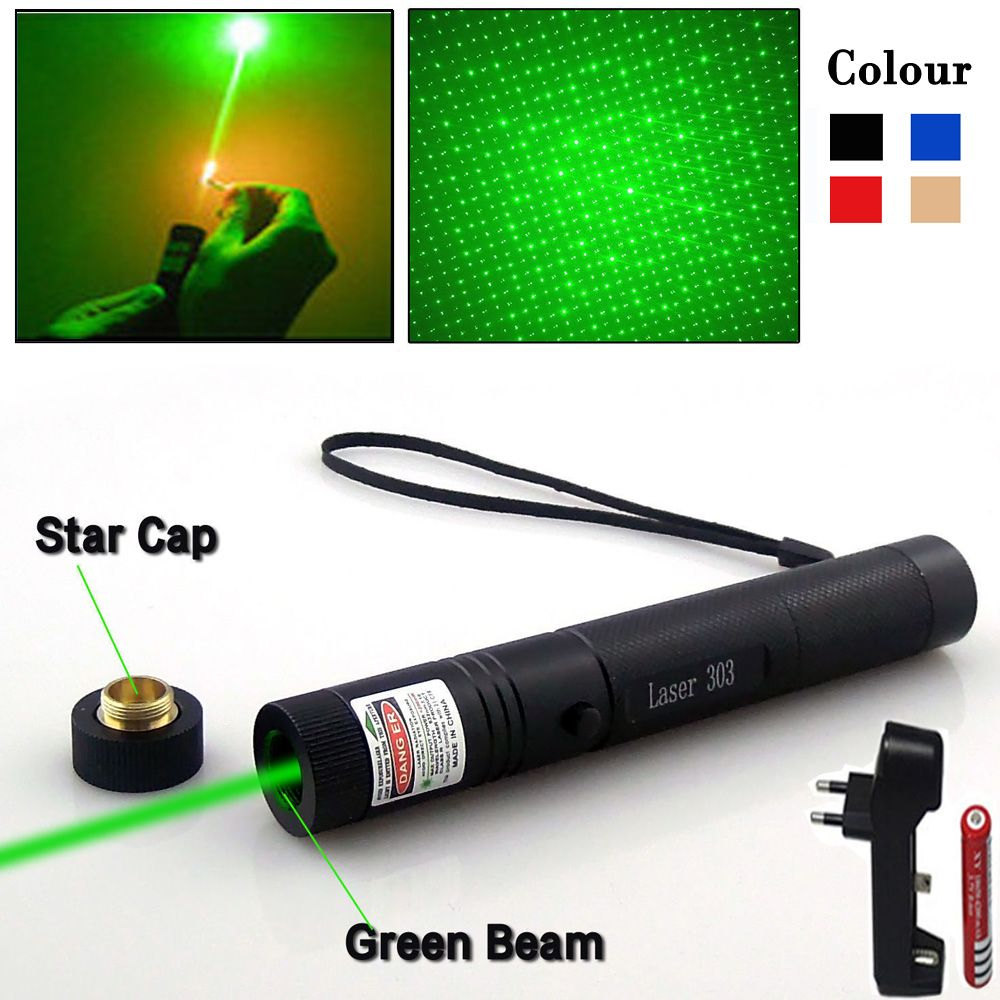 Green Laser Pointer Lazer Pen Adjustable Focus Starry Head Burning Match Laser303 Sight 5000-10000m For Hunting Accessories