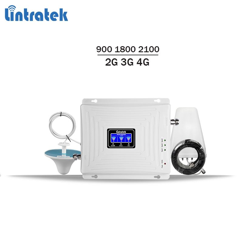 Lintratek tri band repeater 900 1800 2100 2G 3G 4G signal booster gsm 900 lte 1800 3g 2100 mobile signal amplifier KW20C-GDW #7