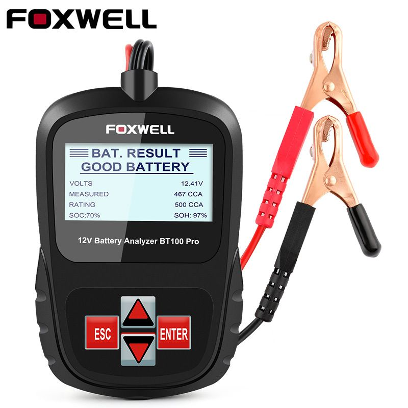 FOXWELL BT100 PRO 6V 12V Car Battery Tester For Flooded AGM GEL Lead-Acid Batteries Digital Auto Analyzer Automotive Test Tool