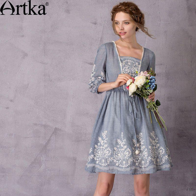 Artka Women's 2017 Summer Vintage Solid Color Embroidery Dress Fashion Puff Sleeve Drawstring Waist Comfy Dress LA11776X