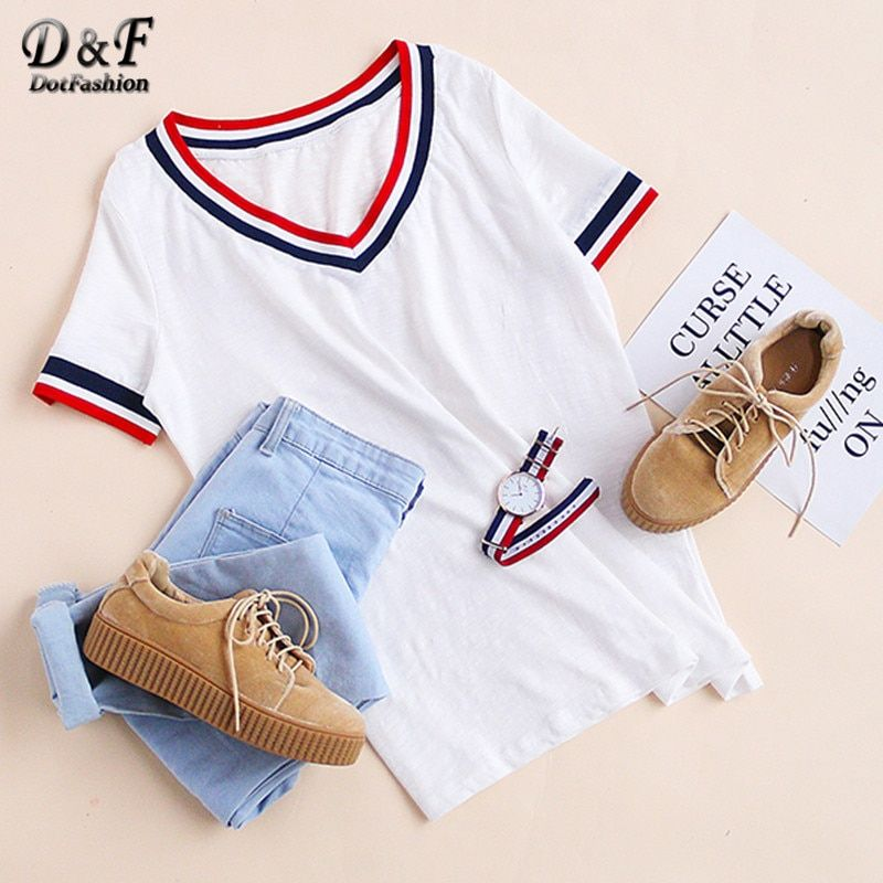 Dotfashion Nouveau Style D'été Femmes T-shirts hauts amples De Base Blanc Rayé Garniture V Cou t-shirt manches courtes